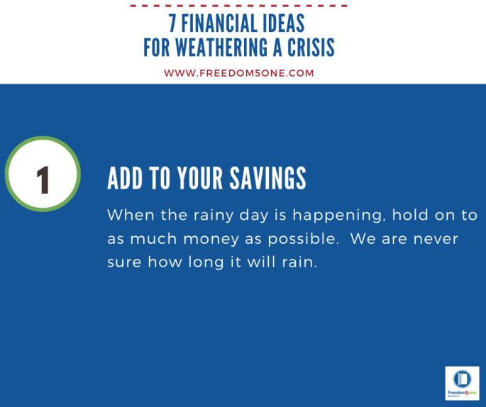 Step 1 Financial ideas for a Crisis