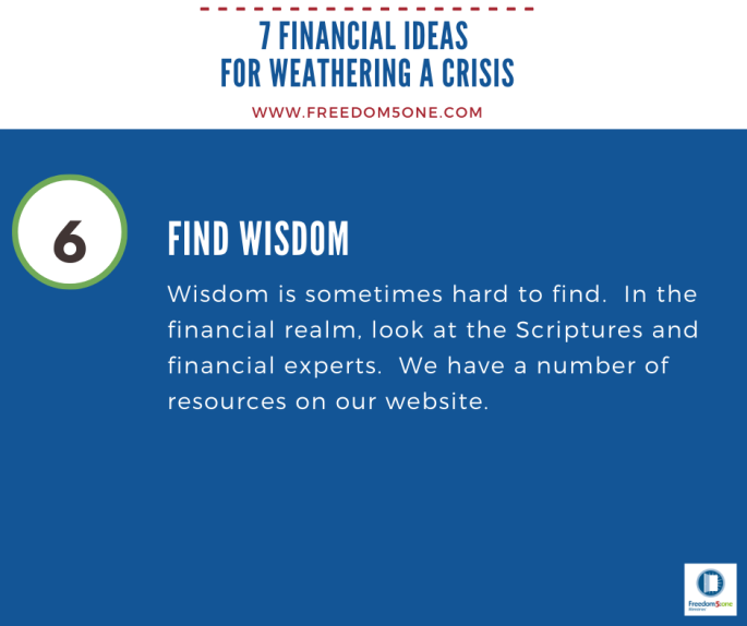 Step 6 Financial ideas for a Crisis
